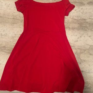off the shoulder simple red dress